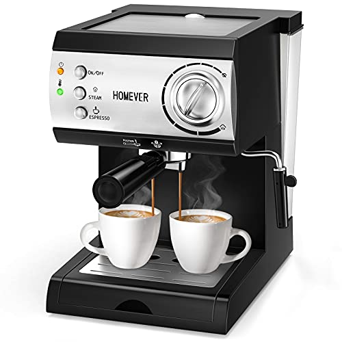 Traditional Pump Espresso Coffee Machine with Milk Steamer, HOMEVER 15 Bar Italian Espresso Coffee Maker with Milk Frothing, Large1.5L Water Tank for Latte, Cappuccino, Flat White, Macchiato
