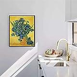 SHSYFBH Lienzo Arte de la Pared Pintor postimpresionista holandés Van Gogh Iris Posters e Impresiones Arte de la Pared Cuadros Famosos para la decoración de la habitación 70x90cm sin Marco