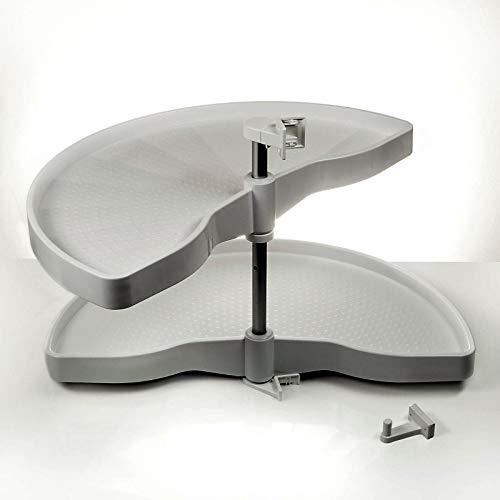 Sotech Eckschrankdrehbeschlag 1/2-Kreis Drehbeschlag 900er Halbkreisboden für 90er Eckschrank mit grauen Drehböden von SO-TECH® - Made in Germany