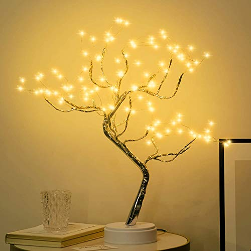 New Gifts for 2021 Desktop Bonsai LED Artificial Fairy Tree lamp with 108LED Copper Wire Tube, DIY Design Artificial Tree,Battery and USB Power Supply, Used for Room Decoration, (108LED Warm White)