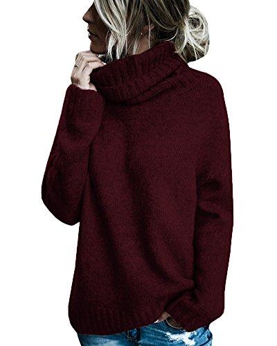 Gemijacka Strickpullover Damen Rollkragenpullover Damen Gestrickt Langarmshirts Casual Sweater Oberteile Damen Pulli Rot M