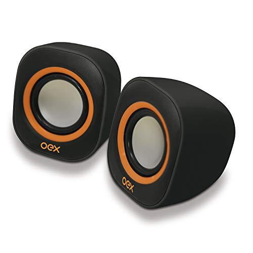Speaker Round OEX, Altos-falantes para computador, Preto com laranja