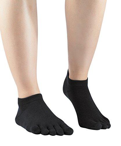 Knitido Essentials Sneaker, Zehensocken Unisex, für jeden Tag, 85% Baumwolle, in schwarz und 6 weiteren Farben, Größe:35-38, Farbe:Black