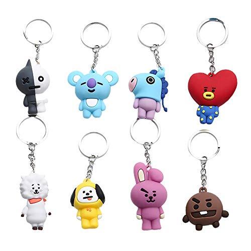 8PCS Kpop BTS Keychain, BTS Keychain, 3D Keychain, Bangtan Boys Cartoon Keychain, Accessories
