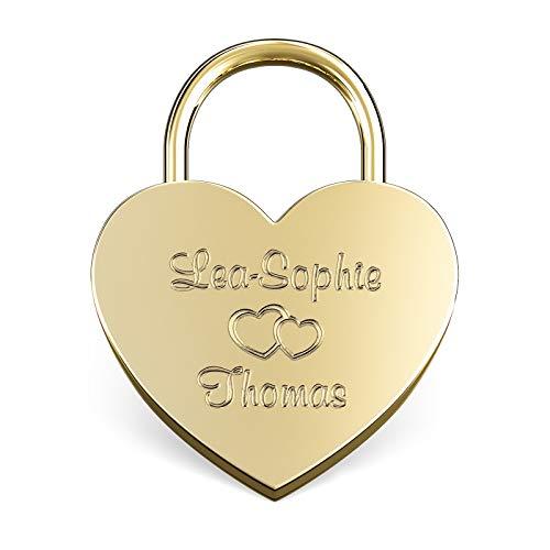LIEBESSCHLOSS-FACTORY Herz-Schloss Gold mit Gravur und Schlüssel, gratis Geschenkbox uvm. Jetzt graviertes Liebes-Schloss in Herzform gestalten!