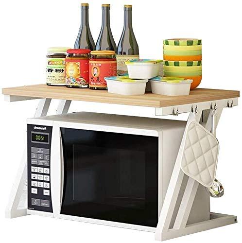 Lloow Einfache Lagerregal Aus Holz Multi-Funktions-Verdickung Nicht-Rost-Halterung Küchenablage Mikrowelle Rack 2 Regale 57X37.6X37cm Kitchen Storage Trolleys