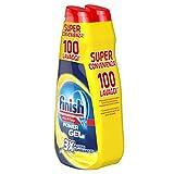 Finish Detergente para lavavajillas, 100 lavados, Powergel, 2 paquetes de 50 lavados, limón
