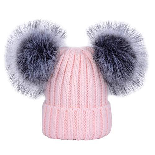 YoungSoul Strickmütze für Baby Mädchen Jungen Wintermütze Gerippte Beanie Mützen mit zwei bommeln aus Kunstfell Pink 0-6 Jahre