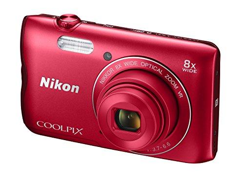 """Nikon Coolpix A300 - Cámara Digital compacta de 20.1 MP (Pantalla LCD de 2.7"""", Sensor CCD, Snapbridge, VR, Objetivo Nikkor, USB, WiFi) Rojo"""