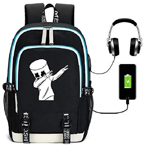 Unisex DJ Rucksack, Leuchtend Daypacks Laptoptasche Schulrucksack Anime mit USB Anschluss, Student Casual Cool Rucksack für die Schule Jungle Camping Outdoor