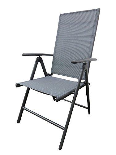 Textilen Klappsessel Bolero anthrazit in anthrazit - Orbit-Grey mit Aluminiumgestell, mehrfach verstellbar, Pure Home & Garden