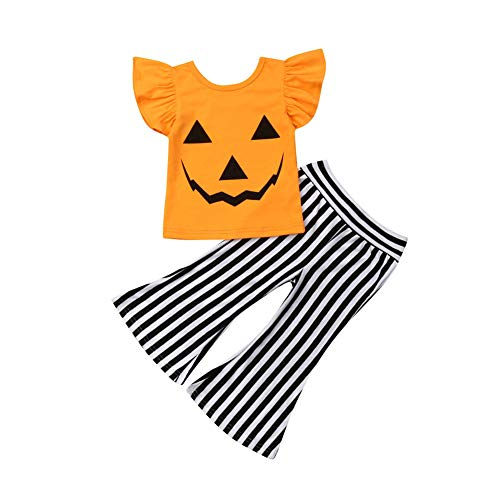 Toddler Baby Girl Smile Face Outfit Costumes Pumpkin Ruffled T-Shirt Top Striped Flare Pants 2Pcs Clothes Set (Orange, 4-5T)