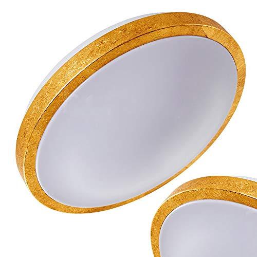 Plafoniera LED Sora rotonda di colore oro spazzolato - Lampada da soffitto dorata - Lustro moderno per bagno - salotto - camera da letto - 3000 Kelvin luce bianca calda - 1380 Lumen - 18 Watt
