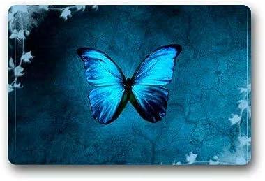 """Cool Blue Butterfly Art Doormat Door Mat Rug Indoor/Outdoor/Floor Mat Rug for Home/Office/Bedroom 23.6""""(L) x 15.7""""(W)"""