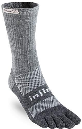 Injinji 2.0 Outdoor Midweight Crew Nuwool Socks, Charcoal & Black, Large