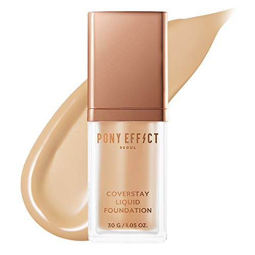 PONY EFFECT Coverstay Liquid Foundation   Beige   Lightweight and Long-lasting Coverage Foundation   K-beauty