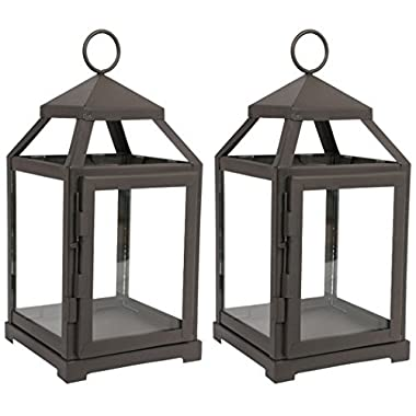 Hosley Set of 2-12  High Clear Glass & Iron, Classic Style Lantern. Ideal Gift for Weddings, Festivities, Parties, Outdoor Activities, Aromatherapy, Spa Settings with Votive or LED O3