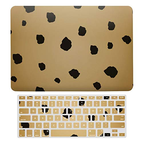 For MacBook Air 13 Case A1466、A1369, Hard Shell & Keyboard Case Cover for Apple Mac Air 13, Modern Black Spot Goldenrod Gold Beige Tan Laptop Protective Shell Set
