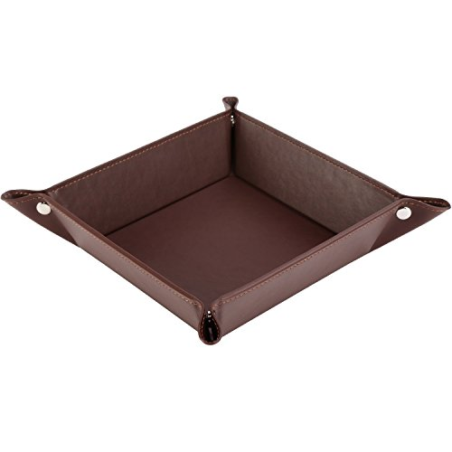 HappyDavid Jewelry Leather Tray Bedside Storage Tray Box for Key, Phone, Coin, Wallet, Watches, etc, Coffee