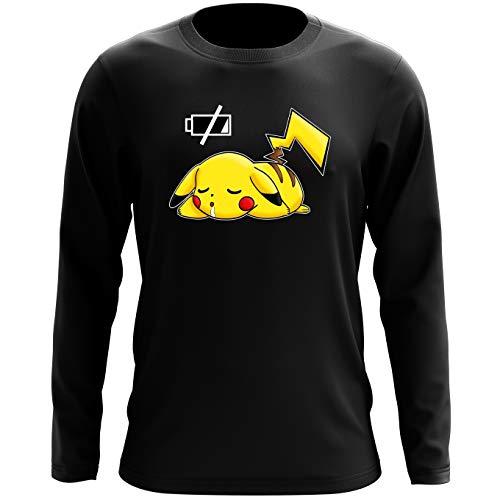 Okiwoki T-Shirt à Manches Longues Noir Pokémon parodique Pikachu : Batterie à Plat ! (Parodie Pokémon)