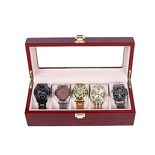 FFAN Caja de reloj de 5 ranuras Caja de exhibición de joyería Organizador de reloj de madera con pantalla de vidrio