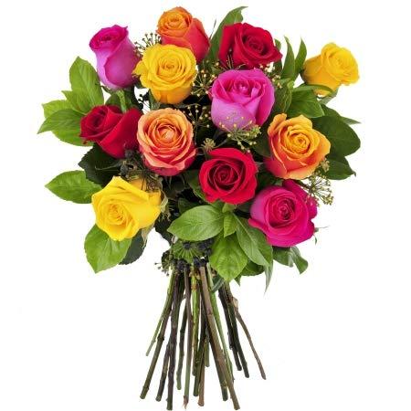 Ramo 12 rosas de colores variadas - Flores naturales San Valentín - E
