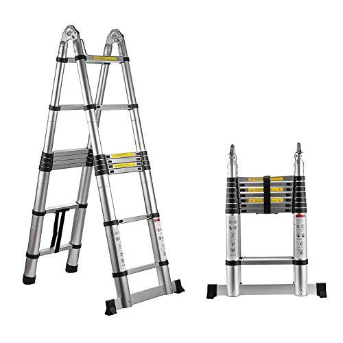 CHENMAO Ladder de 3M-5.4MtelEscoping, retracción de botón rápido Diseño protector de la escalera de extensión telescópica, 300 libras de capacidad Ligero antideslizante, Ligera plegable de aluminio co