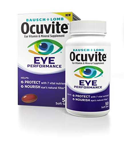Ocuvite Eye Vitamin & Mineral Supplement, Contains Zinc, Vitamins C, D, E, Omega 3, Lutein, & Zeaxanthin, 50 Mini Softgels