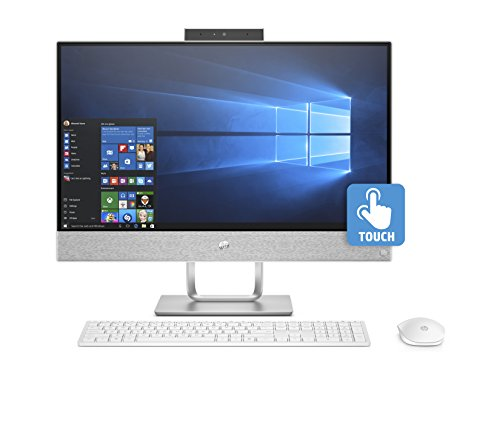 HP Pavilion 24-x058ns - All in One - Ordenador sobremesa 23.8' Táctil FullHD (Intel Core i7-7700T, 8GB RAM, 1TB HDD + 128 SSD, AMD R530 2GB, Windows 10), Blanco - Teclado QWERTY Español y Ratón