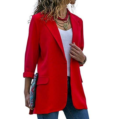 Huaheng Donna Aperto Davanti Manica Lunga Ufficio Lavoro Giacca Blazer Cardigan Casual Solido Colore Suit - Rosso, XL