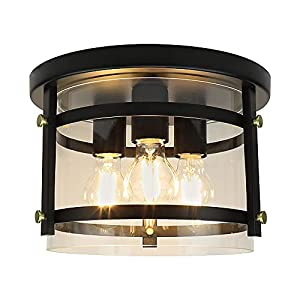DLLT 3-Light Flush Mount Ceiling Light, Round Farmhouse Light Fixture with Clear Glass, Metal Industrial Ceiling Lamp, Rustic Lighting Fixtures for Bedroom Hallway Kitchen Dining Room, E26 Base