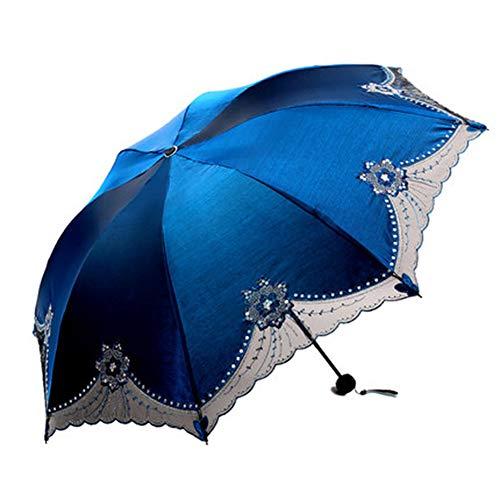 Zon Paraplu, Ms. geborduurd UV Sunshade 386E Bloemenharten Verhoogde Paraplu Regen Reisparaplu - Lichtgewicht Draagbare Paraplu met 95% UV-bescherming