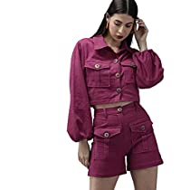 THE DRY STATE Women Corduroy Italian Plum Color Solid Above Knee Length Shorts