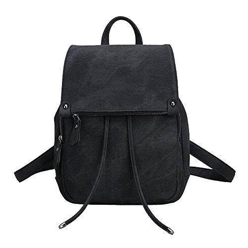 Damen Kleinen Rucksack Umhängetasche Handtasche Mädchen Schulrucksäcke Casual Daypack PU Leder Rucksäcke Reise Schultasche, Schwarz, M