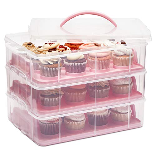 3 Tier Cupcake Carrier with Lid, Holds 36 Cupcakes (13.5 x 10.25 x 10.75 In)