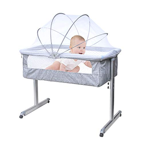 Portable Baby Bedside Crib Sleeper, Mobile Baby Bassinet with Mosquito Net Co-Sleeper Cot for New Born Infants