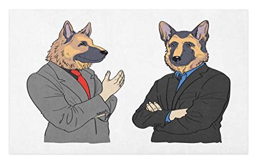 Lunarable German Shepherd Doormat, Hand Drawn Illustration of Two Dog Characters in Suits Hipster Business Men, Decorative Polyester Floor Mat with Non-Skid Backing, 30