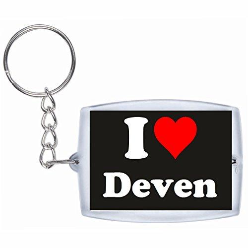 Druckerlebnis24 Schlüsselanhänger I Love Deven in Schwarz - Exclusiver Geschenktipp zu Weihnachten Jahrestag Geburtstag Lieblingsmensch
