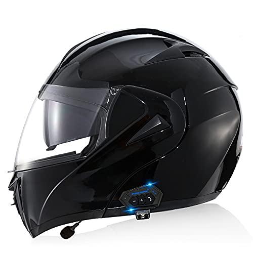 YALIXING Bluetooth Integrado Casco de Moto Modular con Doble Visera Cascos de Motocross con Adultos Unisex para Respuesta Automática Dot/ECE Homologado(Size:S (55-56CM),Color:Negro Brillante)
