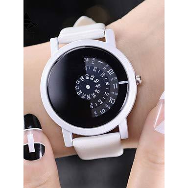 Fashion Watches Relojes Hermosos, Mujer Chino Cronógrafo/Creativo/Palabra Fresca/Frase Piel Banda Elegante Negro/Blanco (Color : Blanco)