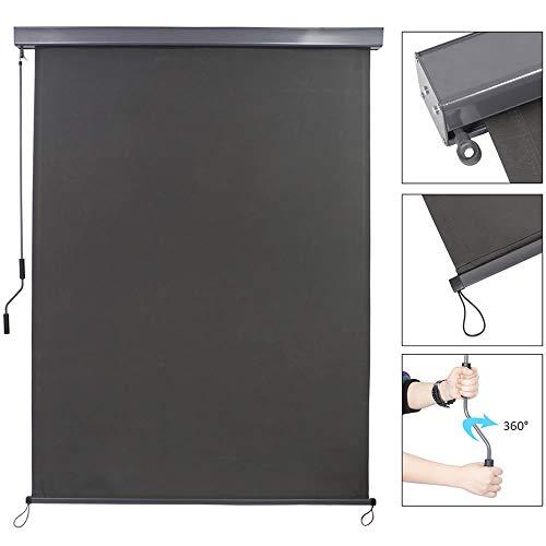Melko Senkrechtmarkise für Balkon und Terrasse Vertikalmarkise Windschutz Markise mit Grauer Markisenkassette Sonnenschutz Sichtschutz
