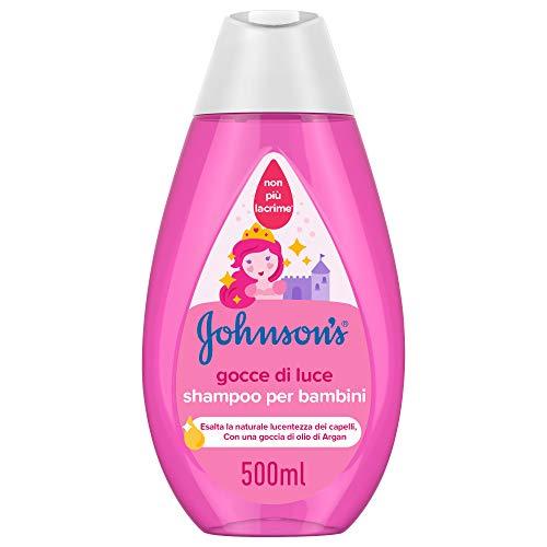 JOHNSON'S Baby, Shampoo per Bambini, Gocce di Luce, Senza Coloranti Solfati Alcol e Sapone, Non Più Lacrime, con Proteine della Seta e Olio di Argan, 500ml