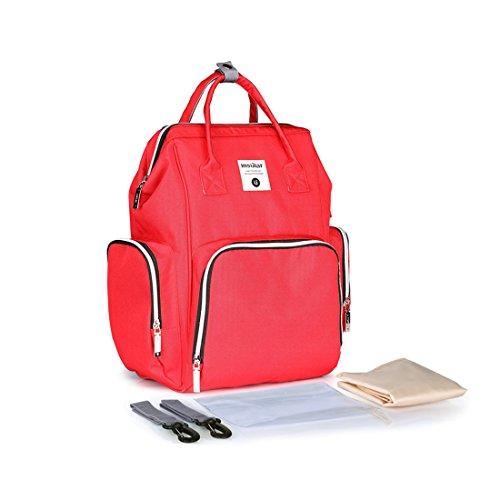 Baby Wickeltasche Reise Rucksack,Isolierte Tasche, Wasserdicht Stoffe, Multifunktional, Passform für Kinderwage, Große Kapazität Modern Einzigartig Tragbar Handtasche (Red)