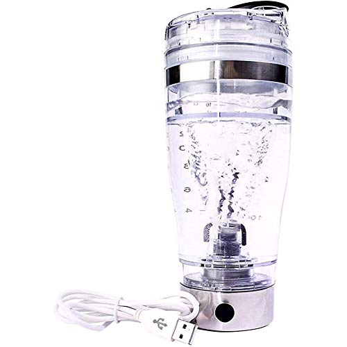CCZMD Electric Shaker Bottle Vortex Mixer Bottle, Protein Shaker Cup,Torque Battery-Powered Shake Bottle Portable,Self-Stirring Mug for Various Powder,Clear