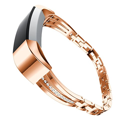 Fitbit Alta HR Bands Metal, Classy Replacement Metal Bands Adjustable with Rhinestone for Women Fitbit Alta HR Bands Bracelet Silver, Rose Gold (Rose Gold)