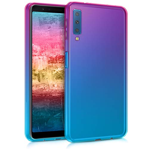 kwmobile Case kompatibel mit Samsung Galaxy A7 (2018) - Hülle Handy - Handyhülle Zwei Farben Pink Blau Transparent
