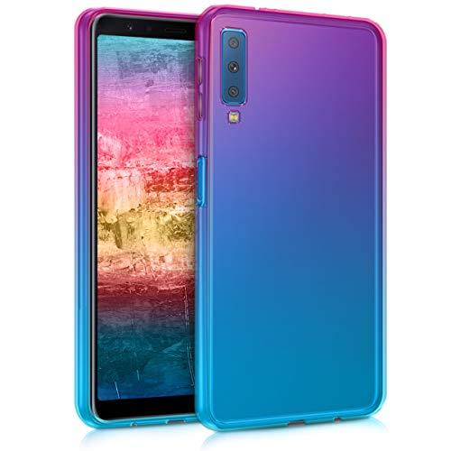 kwmobile Funda Compatible con Samsung Galaxy A7 (2018) - Carcasa de TPU Bicolor - Rosa Fucsia/Azul/Transparente