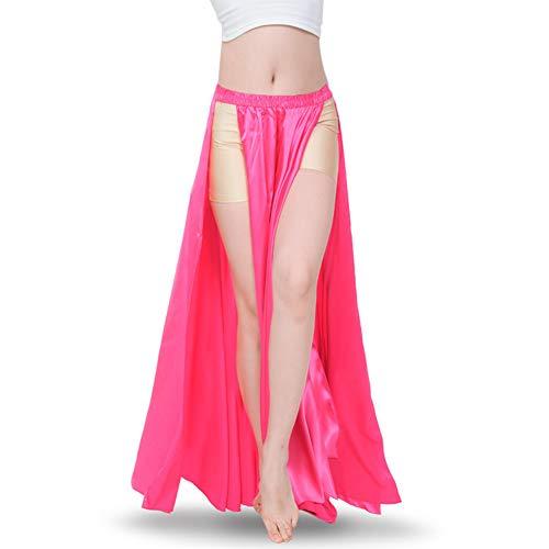 ROYAL SMEELA Bauchtanz-Rock Tribal zweiseitiger Schlitzrock Bauchtanz-Kostüm für Frauen Maxi-Rock Satin Tanzrock - Pink - Einheitsgröße