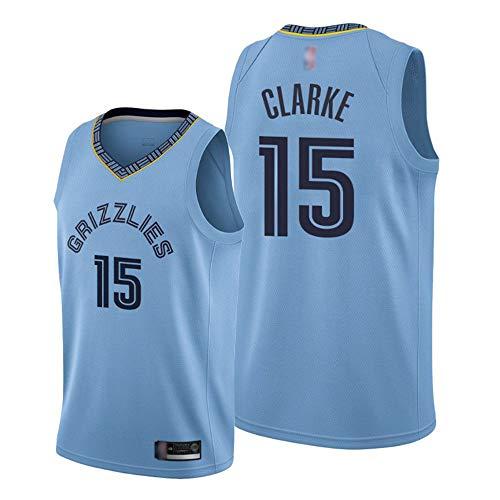HS-XP El Baloncesto Deportivo De Los Hombres NBA Memphis Grizzlies # 15 Brandon Clarke Jersey, Gimnasio De Secado Rápido Transpirable Suelto, Ocio Camiseta Sin Mangas,Azul,M(170~175cm)