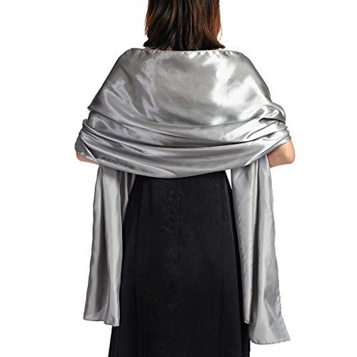 Kofun Chal, 170X45Cm Bufanda De Seda Satinada para Mujer Abrigos Brillo Color...